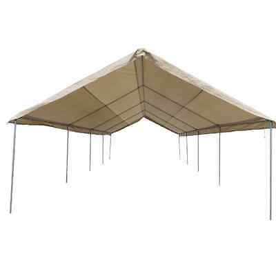 12 X 30 Heavy Duty 12 mil Valance Replacement Canopy Tarp Carport Cover -Tan