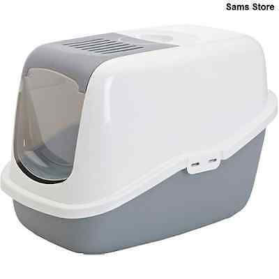 Cat Litter Box Tray Cover Easy Clean Hygienic Deep Base Active Carbon Filter NEW