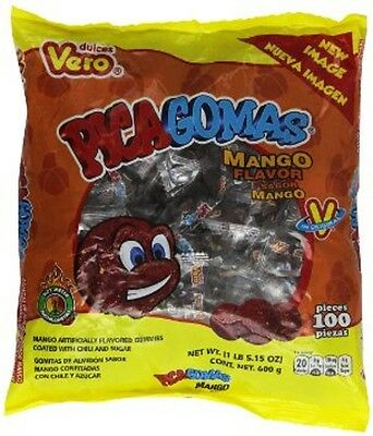 VERO PICA GOMAS MANGO 100ct - Chili Covered Mango Flavor Gummies, Mexican Candy