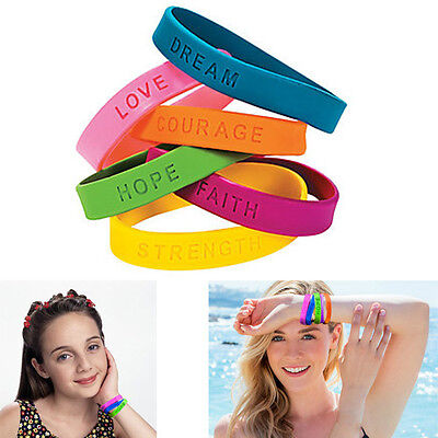 Dazzling Toys 24 Pieces Inspirational Sayings Rubber Bracelets Assorted Color