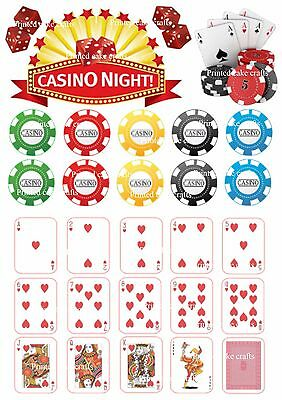 26 PRECUT Edible CASINO Icing Cake Toppers Playing Cards Poker Chips Vegas Sign