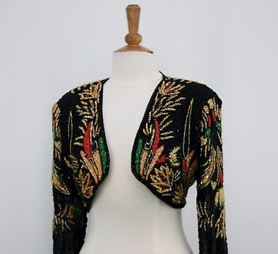 Jasdee Vintage Bolero Jacket Hand Work Beading On Silk Style 5037