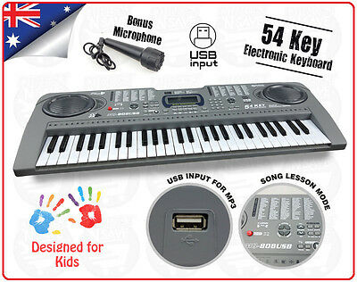 54 Key Keyboard Electric Digital Piano Kids Beginner 2Way Speaker System USB MP3