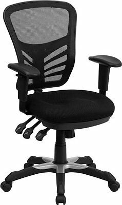 Flash Furniture Mid-Back Black Mesh Chair with Triple Paddle Control HL-0001-GG