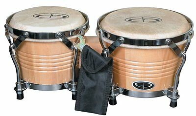 GP Percussion B2 Pro-Series Tunable Bongos 6 & 7 Inch(Clear Finish, Hickory) NEW