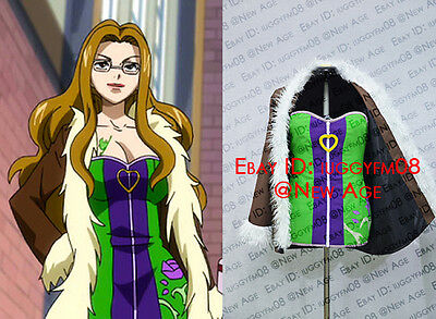 Fairy Tail Evergreen Cosplay Costume Green Dress Purple Patterns Outfit