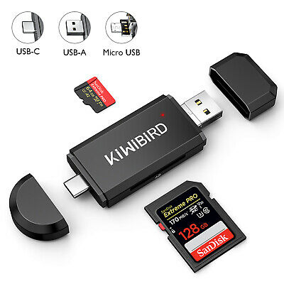 KiWiBiRD® USB Type C OTG SD/Micro SD  Card Reader with USB 2.0 & Micro USB plug