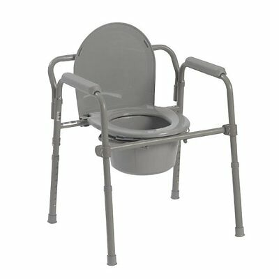 Drive Medical Folding Steel Bedside Commode,Grey(11148-1) Easily opens & folds