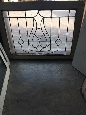 Sg 474 Antique Center Design Leaded Glass Transom Window