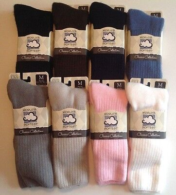 World's Softest Socks Women's & Men's Crew Socks  Medium or Large