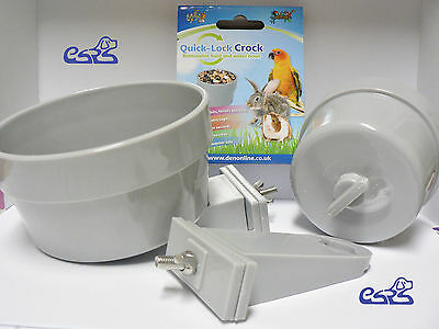 Coop Cups Bowls Cage Animal Bird Dog Cat Dishes Food Feeding Rabbit Ferret Pet
