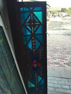 Sg 488 Antique Stainglass Window Painted And Fired Firecracker Center