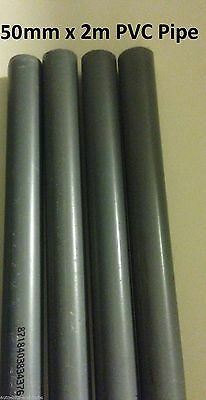 50mm x 2M PVC Hard Rigid Pipe Marine Tropical Aquarium Fish Reef Safe Pipework
