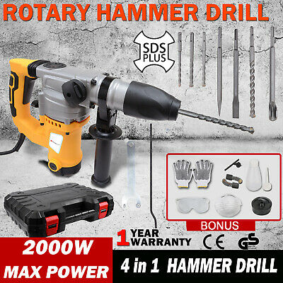 1800W 4 in 1 Demolition Rotary Jack Hammer Concrete Jackhammer Drill Chisel Kit