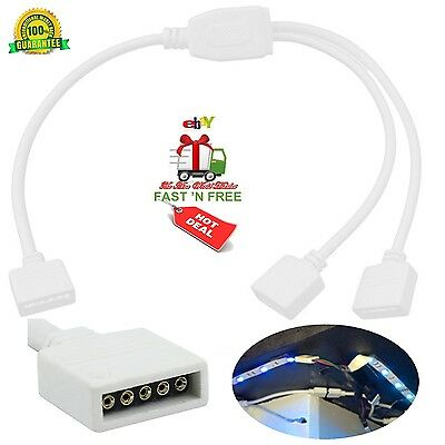 Adapter LED Cable Strip Splitter Connector Female 5 Pin 2 Plug Power Supply Flex