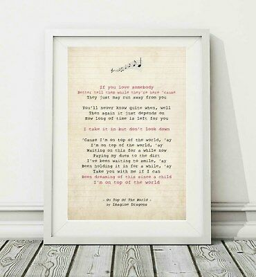 113 Imagine Dragons - On Top Of The World - Song Lyric Poster Print - A4 A3