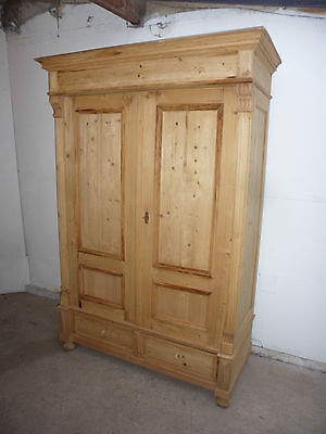 A Top Quality Large Antique Pine Early Victorian Knockdown Wardrobe to Paint/Wax