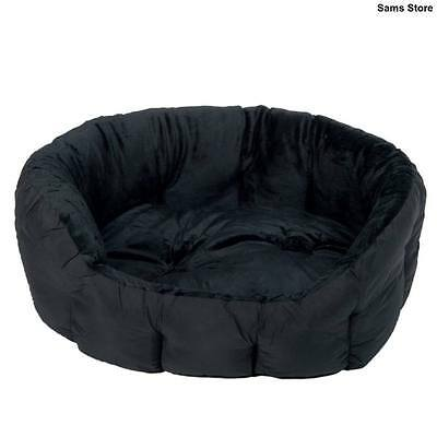 Stylish Black Pet Bed Cat Dog Reversible Cushion Velvety Feel High Padded Sides
