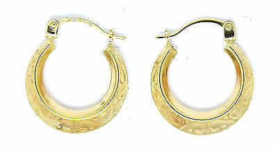 9ct Yellow Gold Vintage Style Small Patterned Hoop / Creole Earrings       9900
