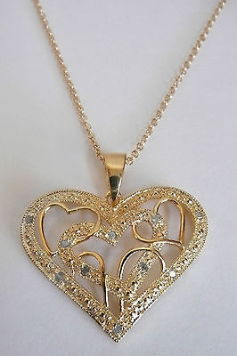 Savvy Cie Diamond Heart Pendant Necklace 14K Gold-Plated Sterling Silver 0.10ctw