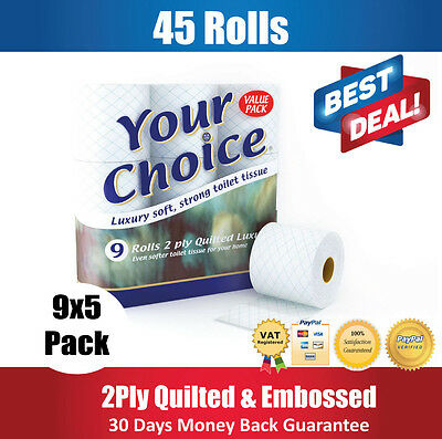 45 (9 x 5) ROLLS BULK BUY TOILET TISSUE ROLLS 2PLY QUILTED SOFT BATHROOM PAPER