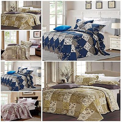 3D 3PCS Quilted bedspread bed spread + 2 Pillow Cases Throw Floral FREE P&P
