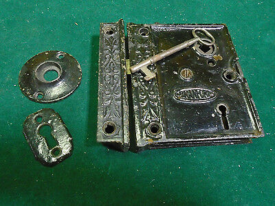 VINTAGE FANCY B.L.W. BRANFORD LOCK  RIM LOCK w/KEY & KEEPER - VERY NICE (4804)