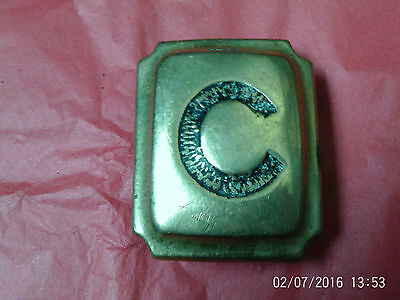 """Antique Horse Brass:Oblong Brass Stud inscribed with letter """"C"""""""