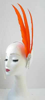 Orange Silver Feather Headpiece Fascinator Headband Vintage Races Ascot 1920 V83