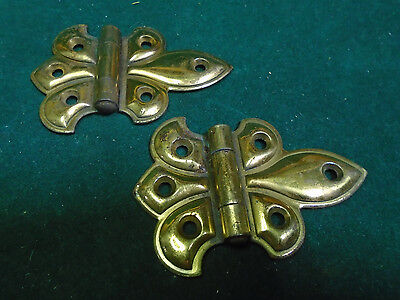 NEW OLD STOCK 2 X 2 STEEL w/ BRASS WASH BUTTERFLY  HINGES!!! ONE PAIR (4427-MB)