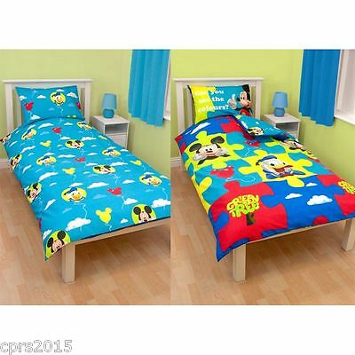 Mickey Mouse Puzzled Reversible Duvet Set - Single Quilt Cover Set