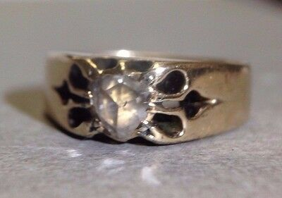 Antique Victorian 14K Gold Rose Cut Diamond Pinky Ring Size 3.75