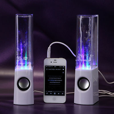 Speakers Music LED Dancing Water Fountain BLUETOOTH Enabled USB Power White