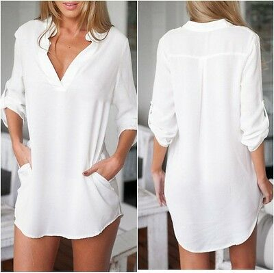 White Shirt Dress/Top with Roll Up 3/4 Sleeves One Size(UK8-10)