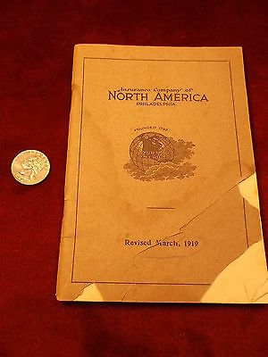"Very Old Antique 1919 Book ""insurance Company Of North America, Philadelphia"""