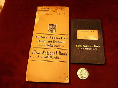 """Very Old Antique Pair Of """"first National Bank Ft. Smith, Ark"""" Teller's Tickets++"""