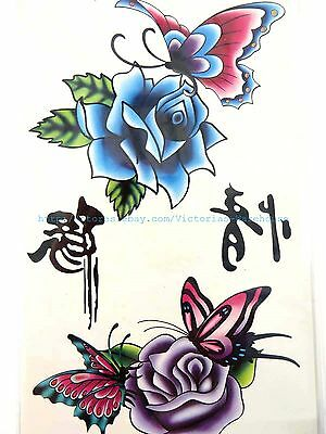 US SELLER-VINTAGE TATTOO butterfly rose flower temporary tattoos body art