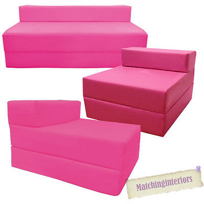 Pink Fold Out Guest Sofa Z Bed Sleeping Mattress Studio Student Indoor Outdoor