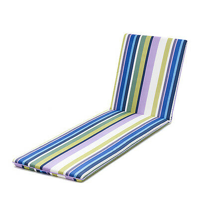 Skiing Stripe Piped Sun Lounger Garden Cushion Pad Outdoor Recliner Resol