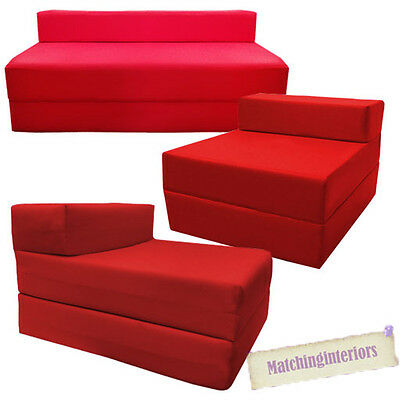 Red Fold Out Guest Sofa Z Bed Sleeping Mattress Studio Student Indoor Outdoor
