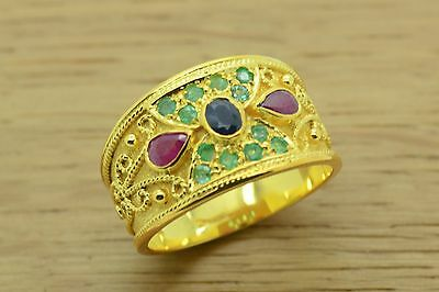 Etruscan Ring, Byzantine Ring, Sterling Silver, 22K Gold Plated, Greek Jewelry