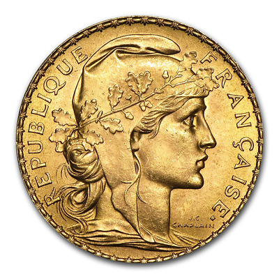 French 20 Franc Rooster Gold Coin - Random Year Coin - SKU #18