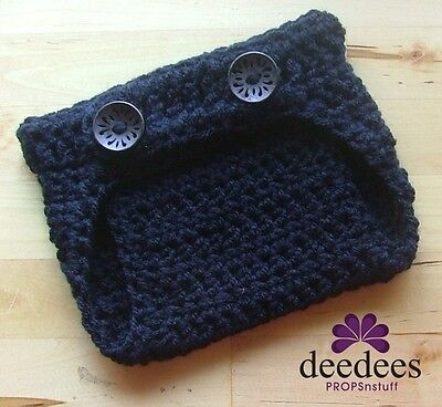 ~ NEW Baby Crochet NAPPY COVER - Photography Prop *BLACK* 0-3m *QLD MADE* ~
