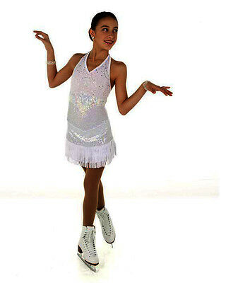 New Competition Skating Dress Elite Expression 1444 White Silver Lace CXL 12-14