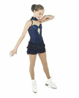 New Competition Skating Dress Elite Expression 1476 Navy Sequins Lace CM 8-10