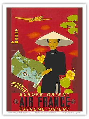 Air France Extreme Orient - Lucien Boucher - Vintage Airline Travel Poster Print