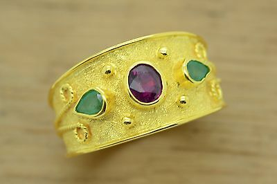 Byzantine Band Cz Ring Sterling Silver 22K Yellow Gold Plated Emerald Ruby Greek