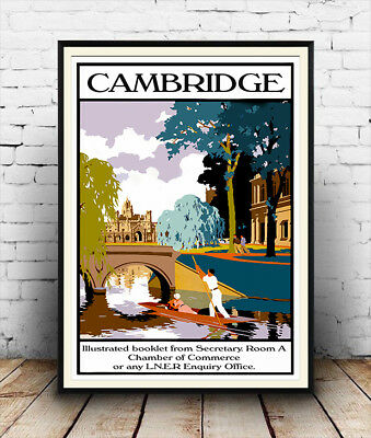 Cambridge : Reproduction Vintage Travel advertising poster, Wall art.