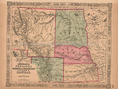 Nebraska Dakota Colorado Antique Map AJ Johnson 1864 Original
