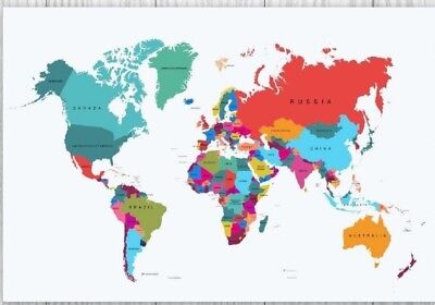 GIANT MAP OF THE WORLD POSTER WALL BRAND NEW Sizes  A0 A1 A2 A3 A4